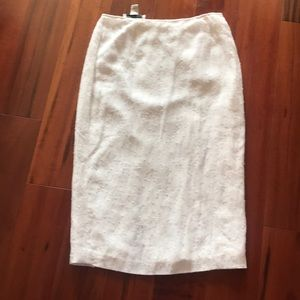 Saks the works- white silk beaded skirt